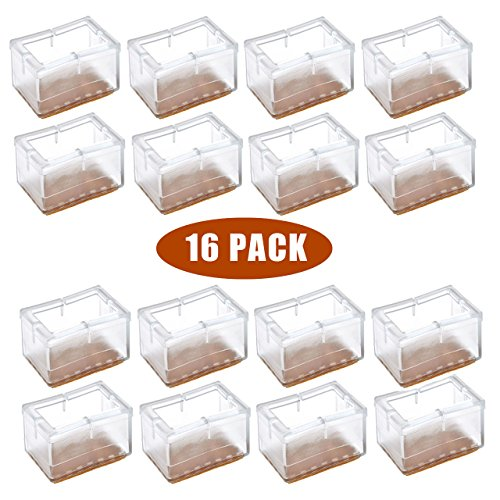 Chair Leg Floor Protectors, WarmHut 16pcs Transparent Clear Silicone Table  Furniture Leg Feet Tips Covers Caps, Felt Pads, Anti Slip Prevent  Scratches, ...