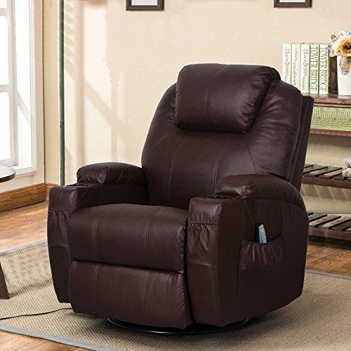 Esright massage recliner chair heated pu leather ergonomic lounge 360 degree swivel dark brown - Ergonomic lounger ...