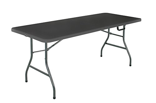 Cosco Deluxe 6 Foot X 30 Inch Fold In Half Blow Molded Folding Table Black