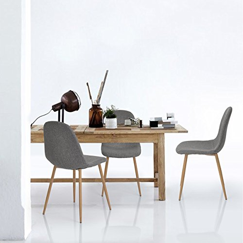 3ca8e9e345e0 Set of 4 Eames Style Side Chair Metal Legs Fabric Cushion Seat and ...