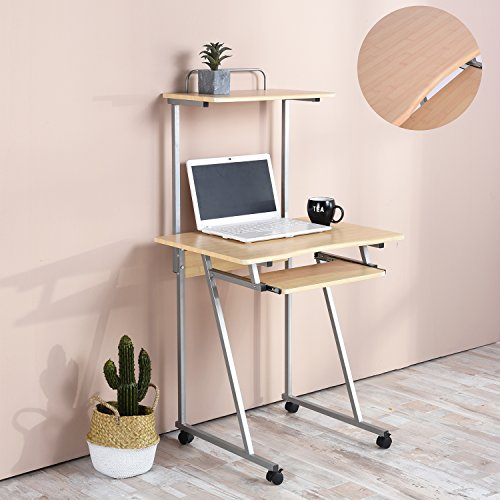 Aingoo Mobile Computer Desk Small Rolling Workstation Laptop Stand ...
