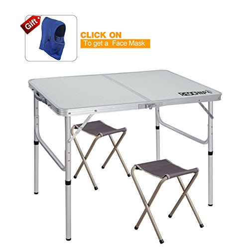 High Quality U0026 Considerate Details Redcamp 4 Foot Adjustable Folding Tables  Are Constructed Of Medium Density Fiberboard And Aluminum Alloy Frame.