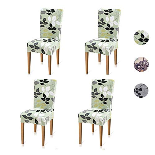 Xflyee Stretch Dining Room Chair Covers Jacquard Removable Washable Kitchen Parson Slipcovers Set Of 4 B Pack
